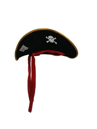 Pirate Hat - Black Gold Trim/Red Tie  Dancewear Australia
