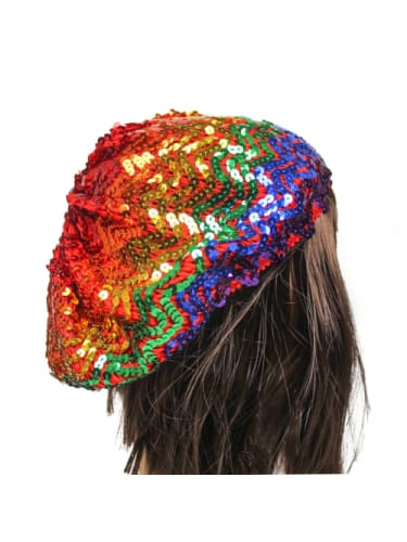 Rainbow Sequin Beret Hat JD Party  Dancewear Australia