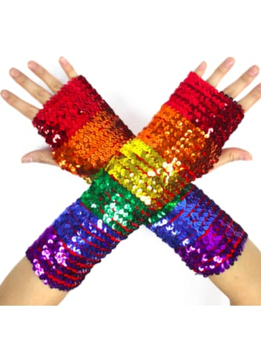 Rainbow Sequin Fingerless Gloves  Dancewear Australia