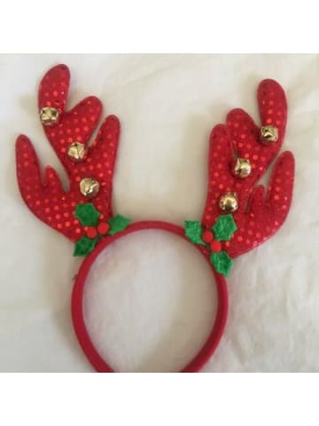 Reindeer Headband - Red Sparkle with Bells Novelties