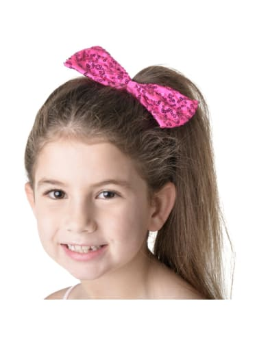 Sequin Bow Medium Hot Pink HairAccessories