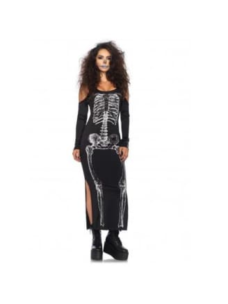 Side Slit Skeleton Cold Shoulder Dress Costume Sale