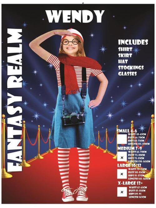 wheres wally girls costume, bookweek halloween fancy dress costume set