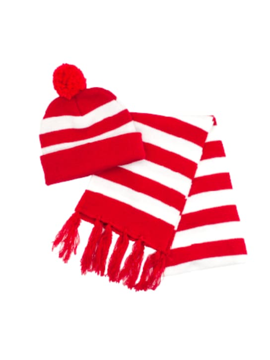 Wheres Wally? Scarf & Beanie Set Costume Sale