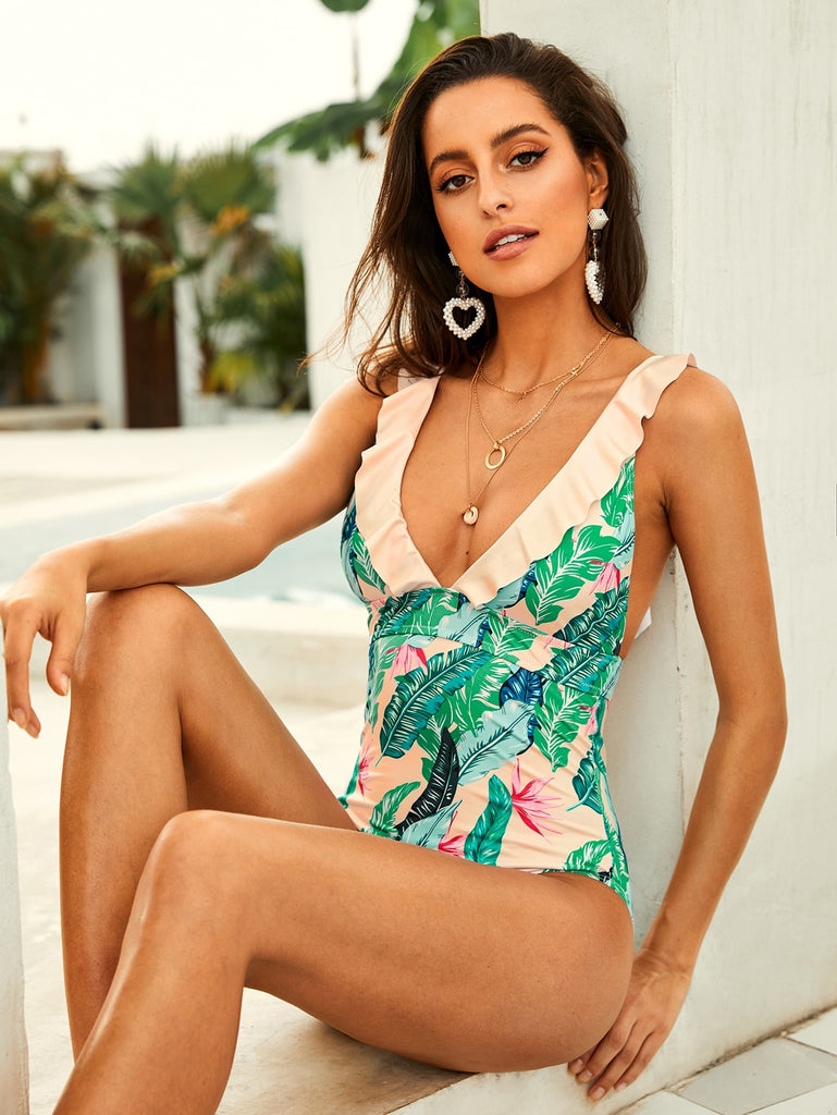 8b3e00dde5d22f Tropical Ruffle Backless Plunge One Piece Swimwear – Amapola Boutique
