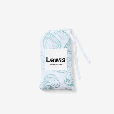 Organic Cotton Burp Cloth Set Oyster Agave by Lewis