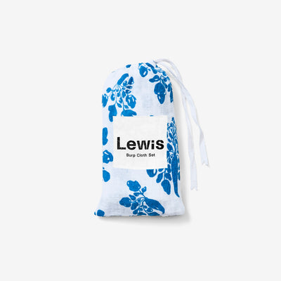 Organic Cotton Burp Cloth Set Parsnip Marine by Lewis