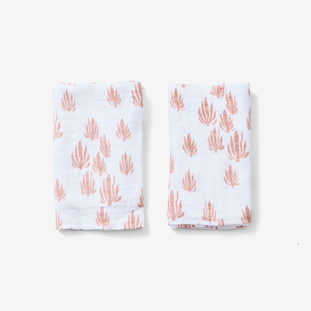 Organic Cotton Burp Cloth Set Seaweed Blush by Lewis