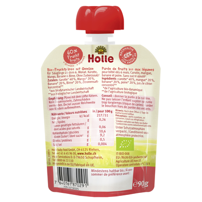 Holle Organic Purée of Carrot, Mango, Banana and Pear (90g)