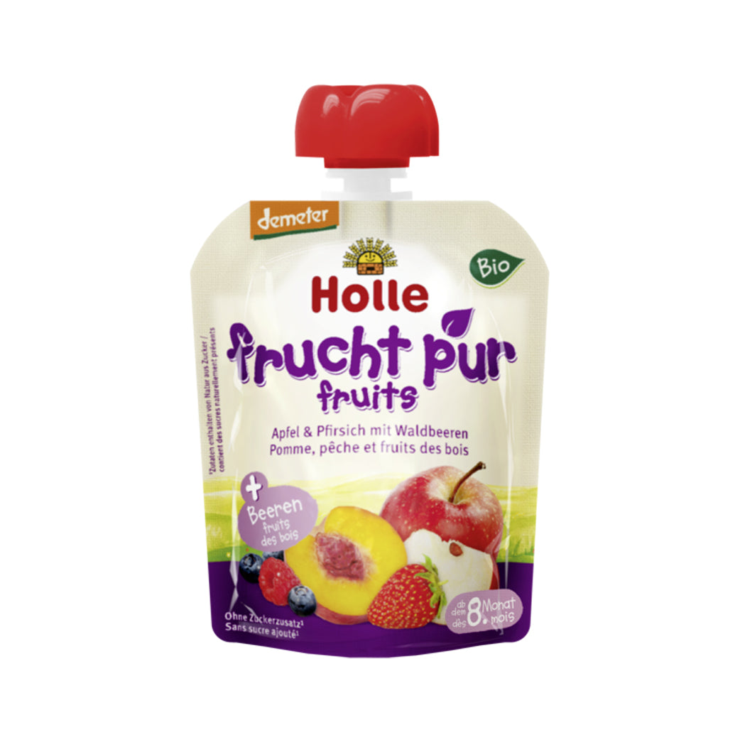 Holle Organic Purée of Apple, Peach and Berries (90g)