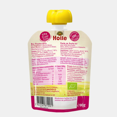Holle Organic Purée of Pear, Peach, Raspberry and Ancient Grains (Spelt) (90g)