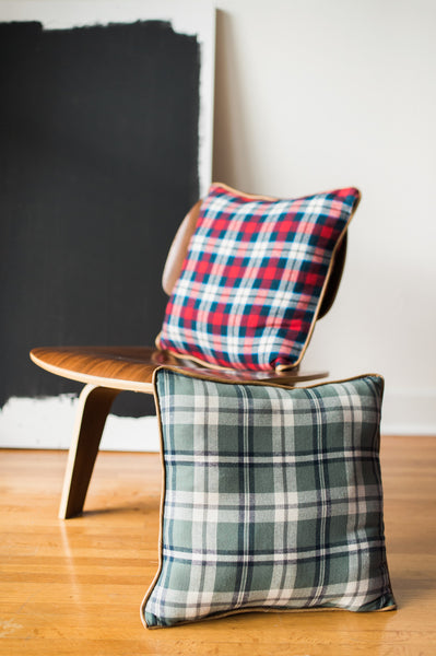 Leather Trimmed Flannel Pillows