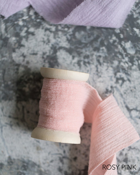 Raw Edge Gauze Floral Ribbon
