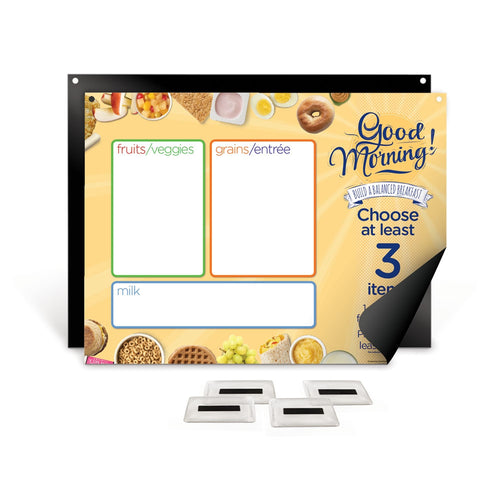 Breakfast Easy Mag-Mount Menu Board with Magnetic Vinyl Pockets