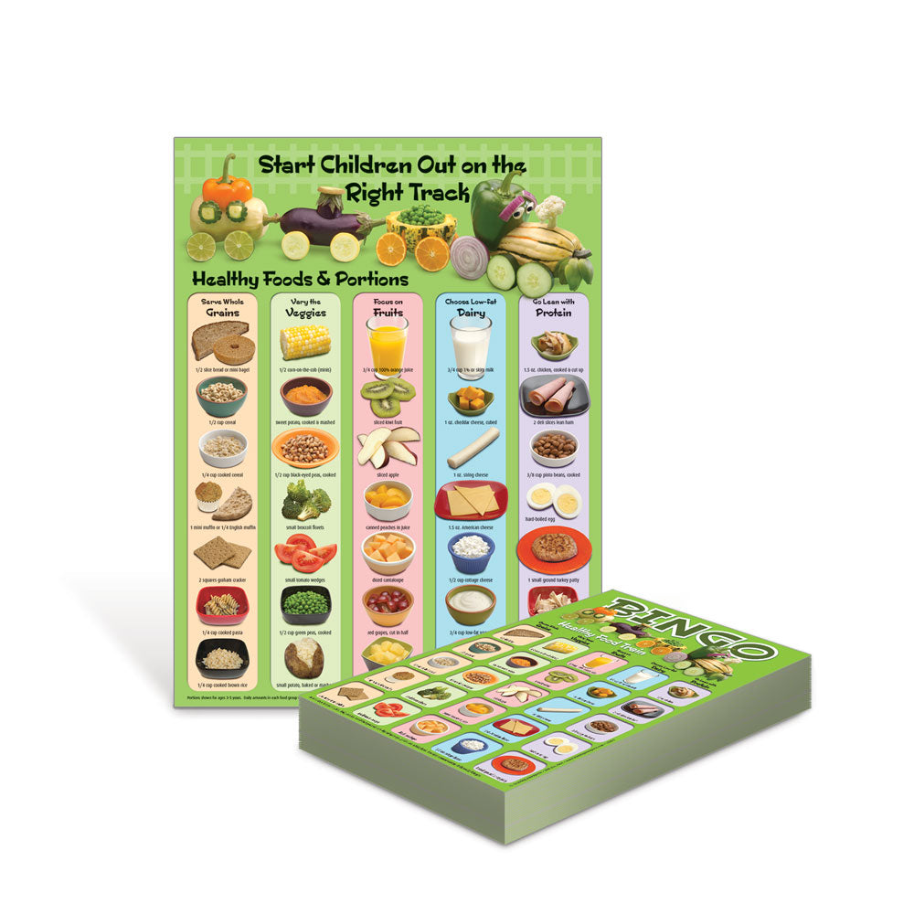 Healthy Food Train Poster and Bingo Game Bundle