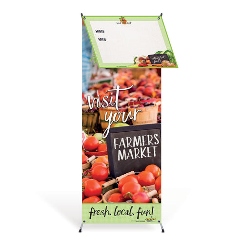 Farmers Market Vinyl Banner w/Stand & Dry Erase Board