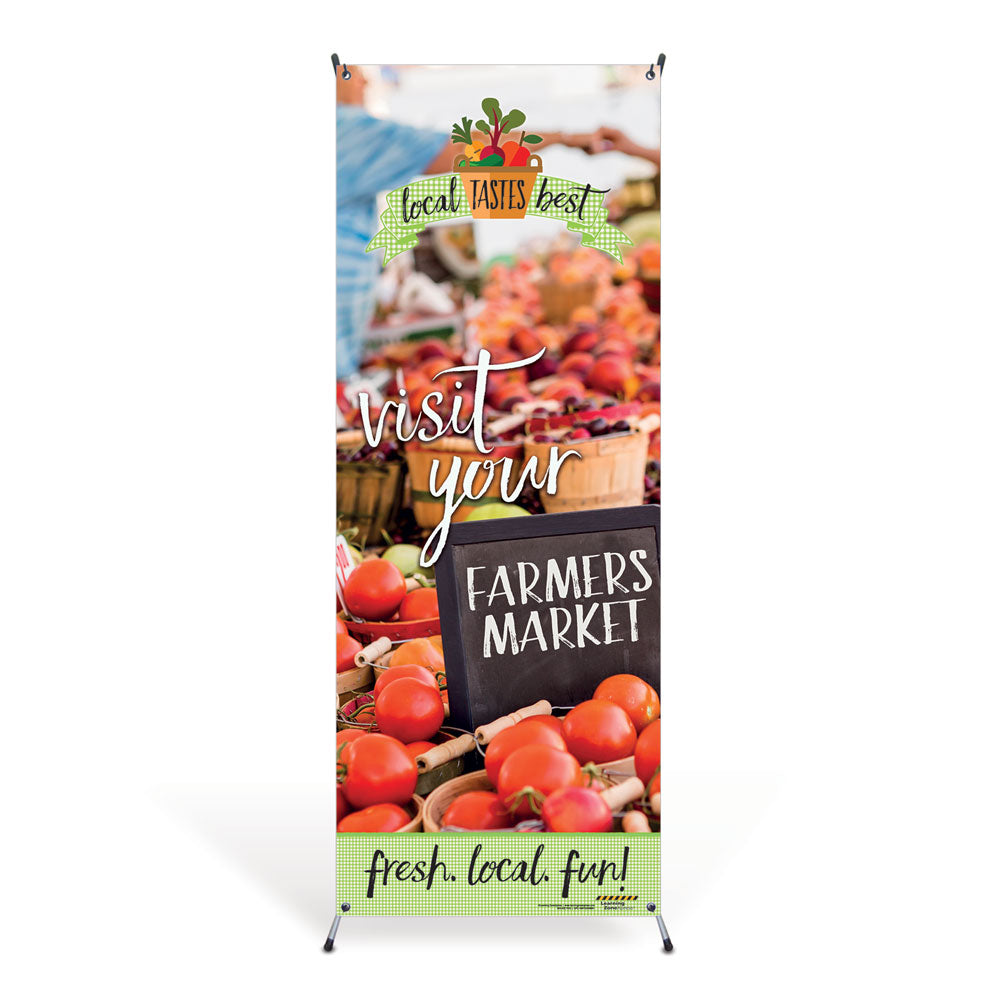 Farmers Market Vinyl Banner with Stand