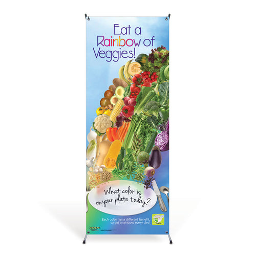 Veggie Rainbow Vinyl Banner with Stand