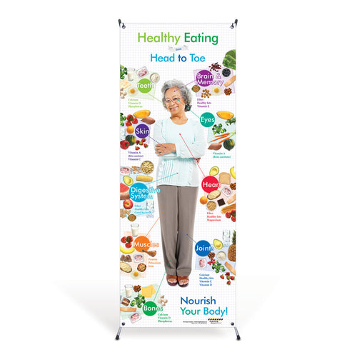 Older Adult Healthy Eating from Head to Toe Vinyl Banner with Stand