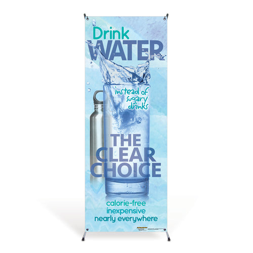 Drink Water Vinyl Banner with Stand