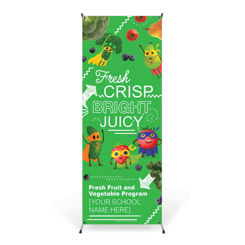 Custom Vinyl Banner: Elementary Fresh Fruit and Vegetable Program with Stand