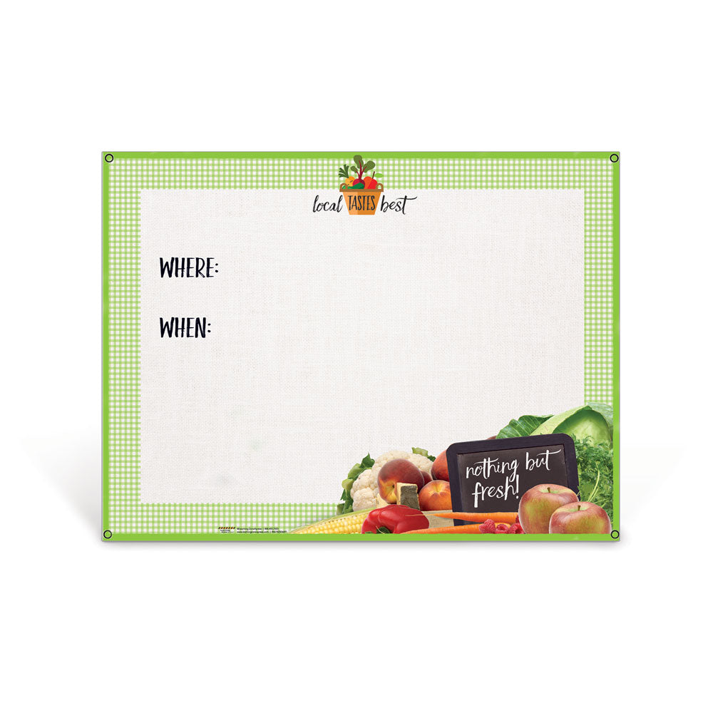 Farmers Market Vinyl Banner with Stand and Dry Erase Board