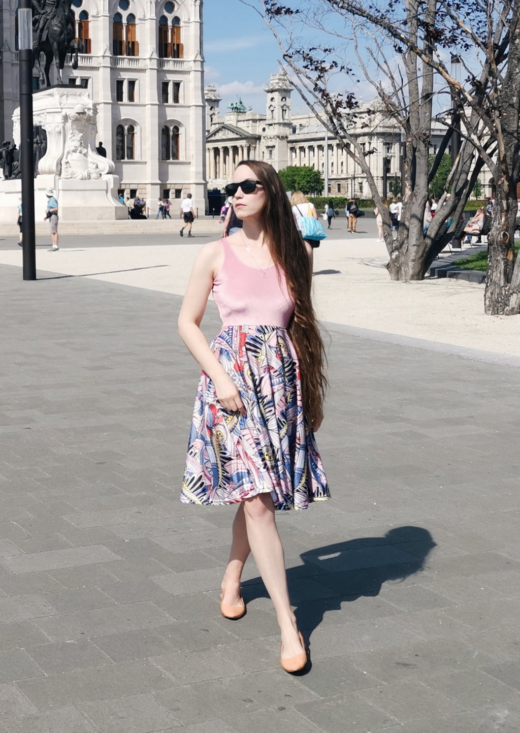 Funky Patterns in Pink 1st Edition Midi Dress