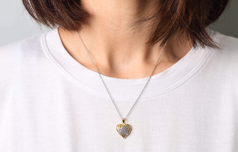 Gold Plated Double Heart Pendant - Taryn's Cottage