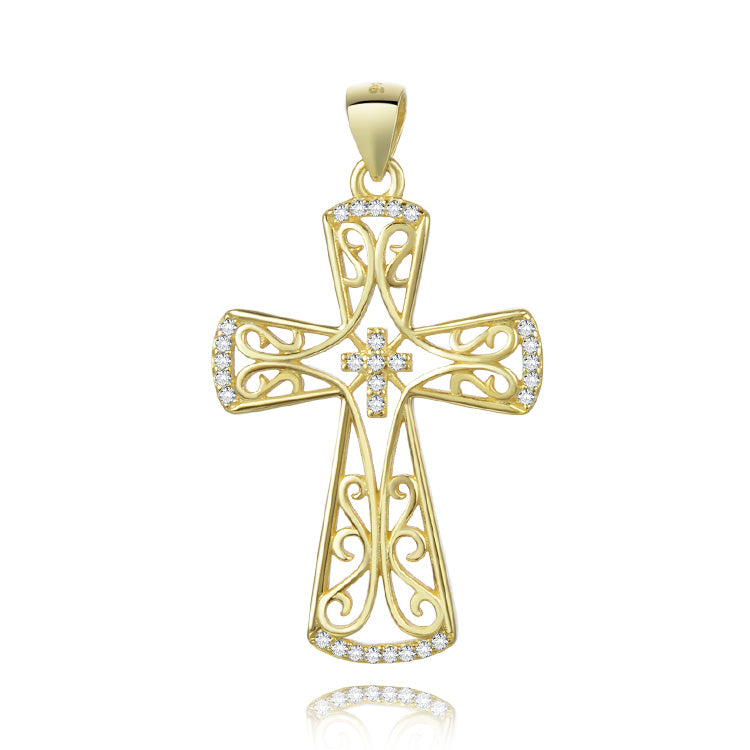 Celtic Inspired Gold Plated Cross Pendant - Taryn's Cottage