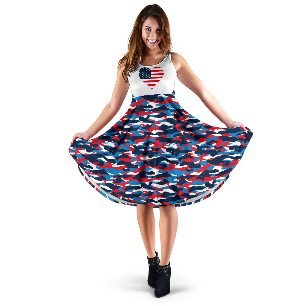 USA Heart Camo Midi Dress - Taryn's Cottage
