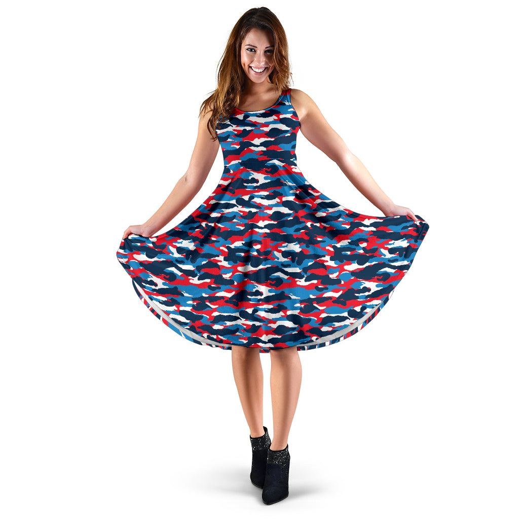 Red White and Blue Camo Midi Dress - Taryn's Cottage