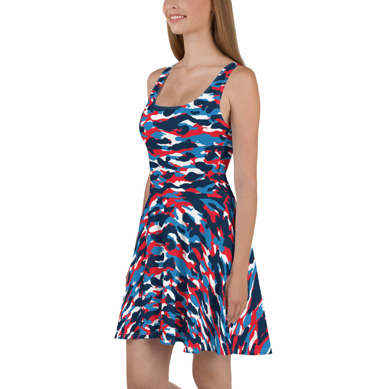 Red White and Blue Camo Skater Dress