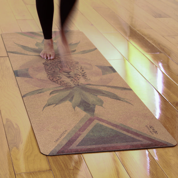Cork Yoga Mat by Cosmic Collage for Raw Artistry