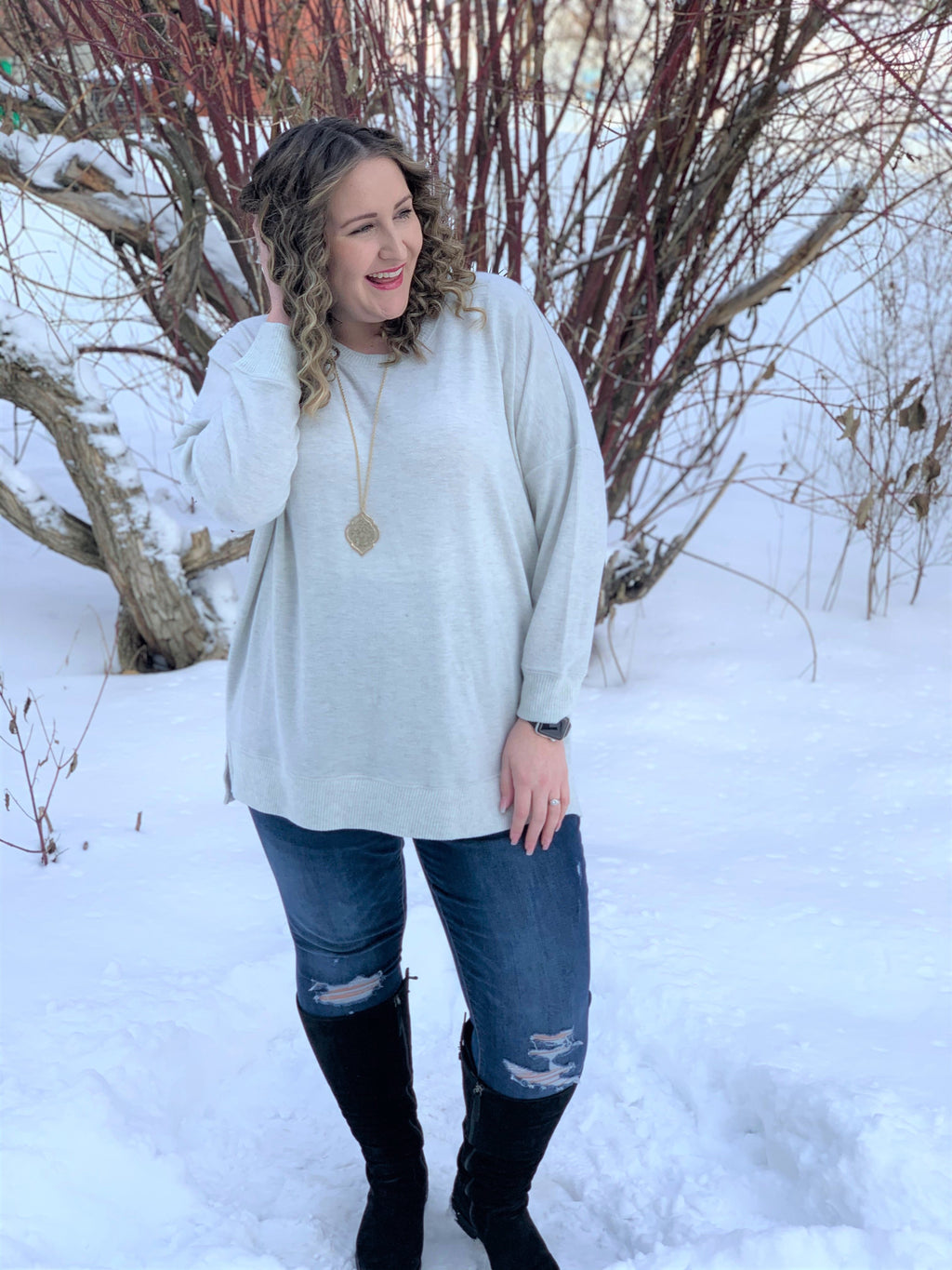 Curvy Pearl Grey Sweater