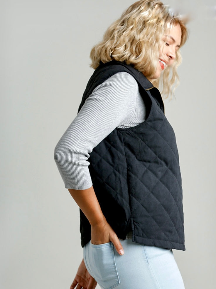Curvy Quilted Black Vest