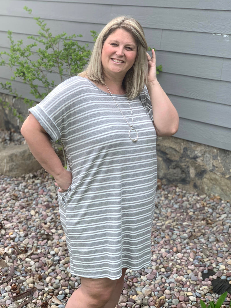 Grey Striped Curvy Dress