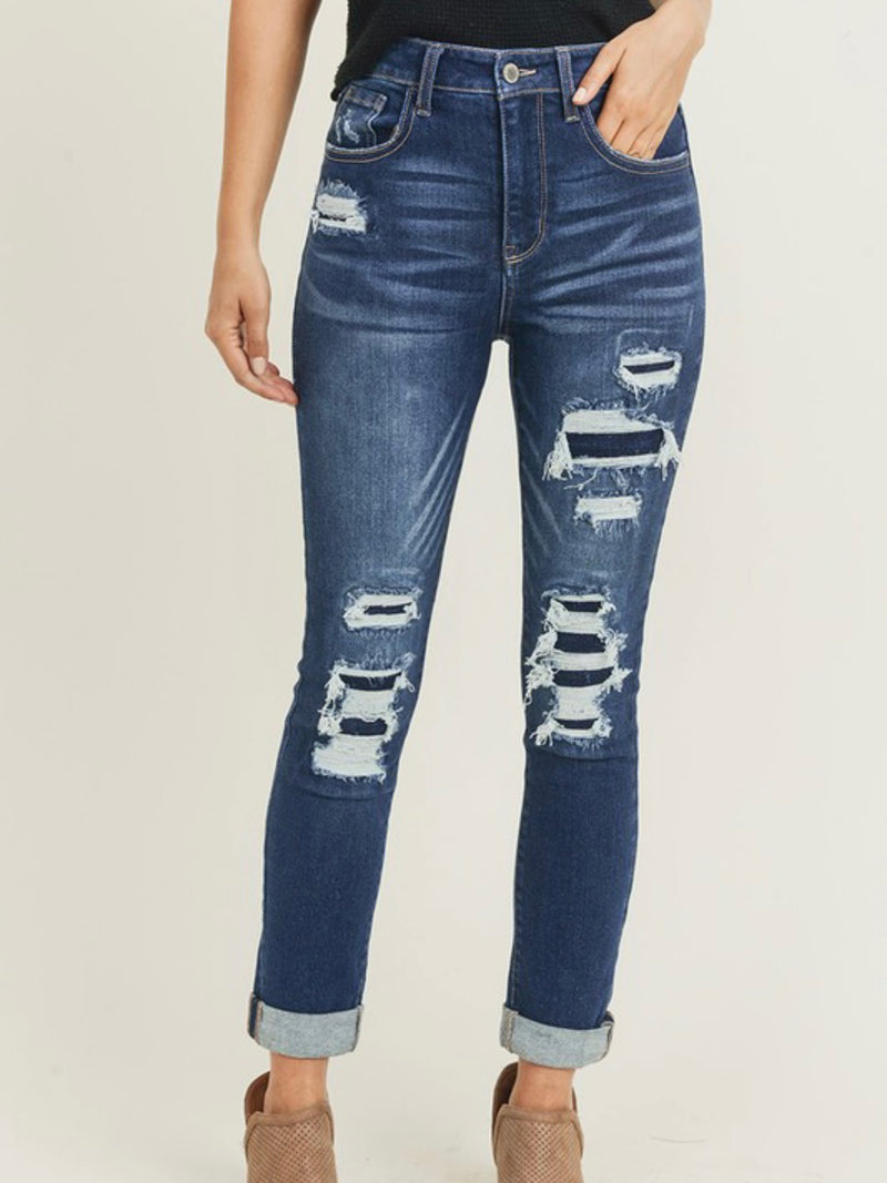 Patched Distressed High Rise Jean