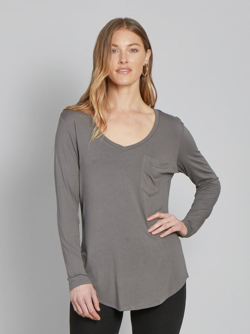 Favorite Long Sleeve Pocket Top (Avail in 9 Colors!)
