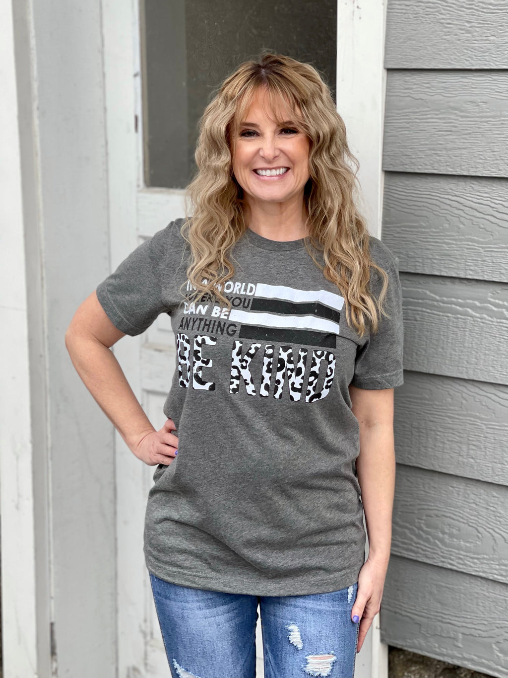 "Heather Charcoal ""Be Kind"" Graphic Tee  (Curvy Sizes Too!)"