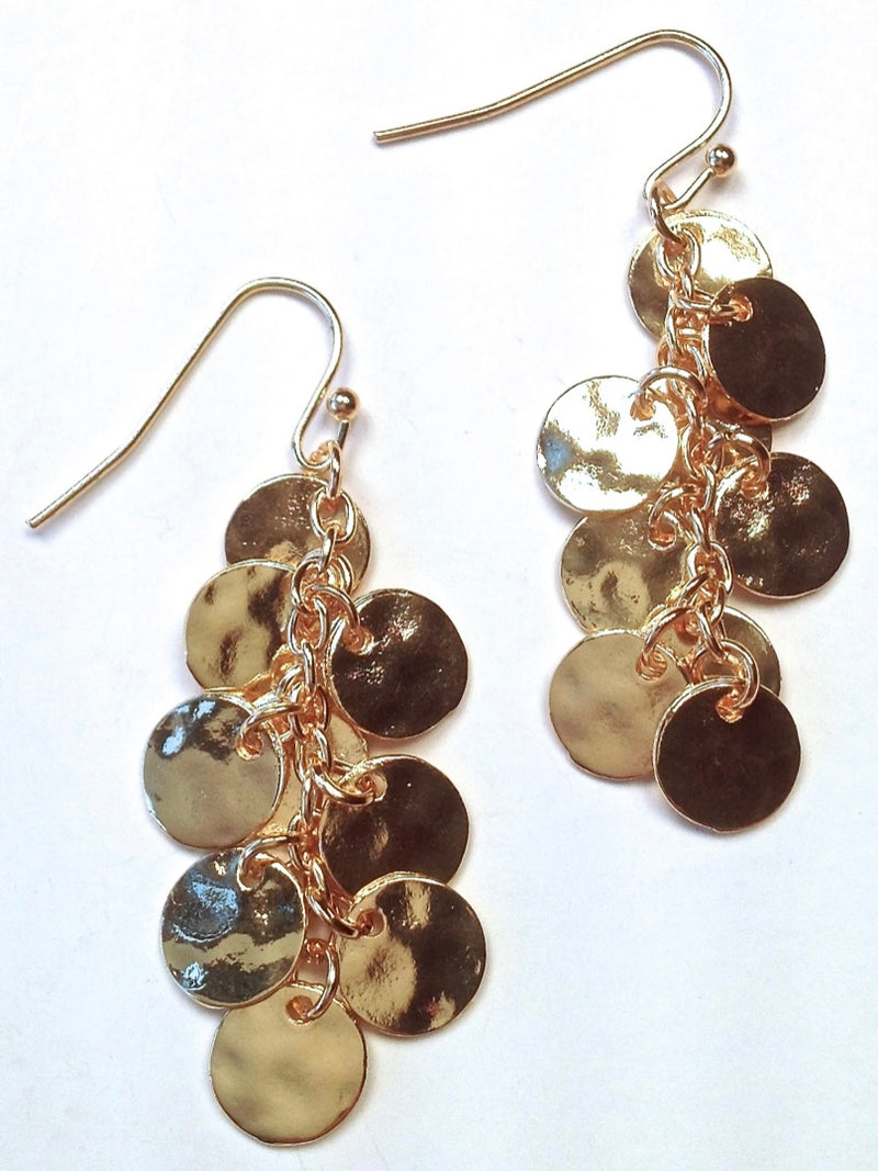 Gold Hammered Circles Earring