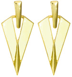 "Classy Art Nouveau ""V"" Earrings in Winter White"