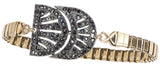 Charly Vintage Deco Watchband Bracelet in Jet Hematite