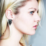 Crystal Stud Earrings in Gun Metal