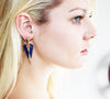 "Classy Art Nouveau ""V"" Earrings in Navy"