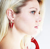 "Classy Art Nouveau ""V"" Earrings in Burgundy"