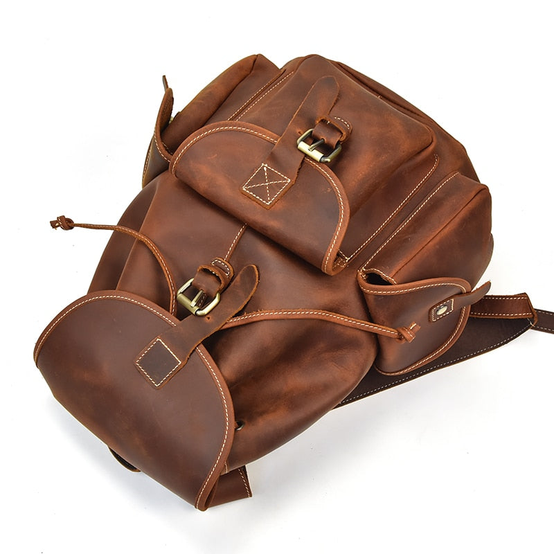 Men's Vintage Leather-Travel Rucksack
