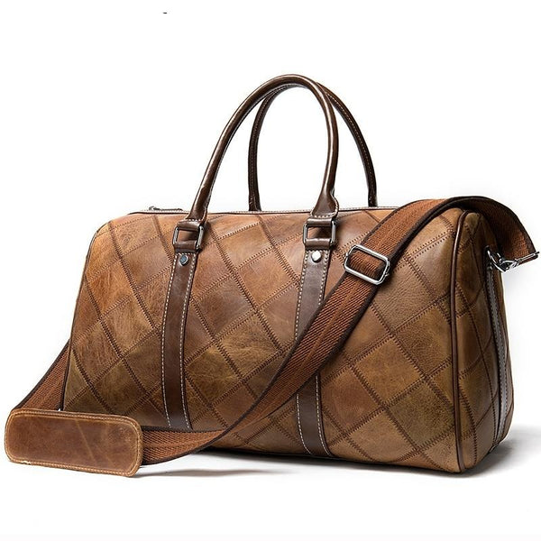Vintage Quilted Leather Weekender Bag