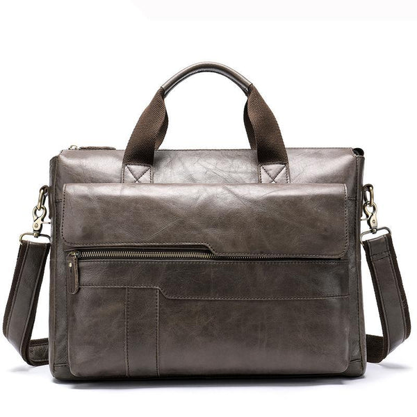 Men's Vintage Leather Messenger Bag-The Hub Venue
