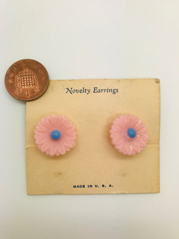 Authentic Vintage 1940s-50s Clip On Novelty Pink Flower Acrylic Resin Earrings by The Schein Brothers
