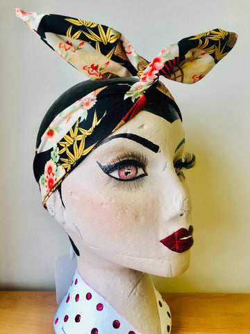 Rock n Romance Wired Headband (No Tying Fiddly Knots or Bows) 1950s Rockabilly / 1940s Landgirl Style .. In Our Oriental Fan Print - RocknRomance Clothing